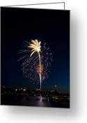 Light Pyrography Greeting Cards - Fireworks Over Lake Washington Greeting Card by David Rische