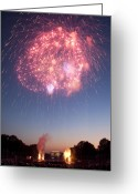 4th July Greeting Cards - Fireworks Over Lincoln Greeting Card by Colleen Joy
