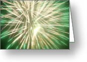 Flag Pyrography Greeting Cards - Fireworks Greeting Card by Ronald Britton