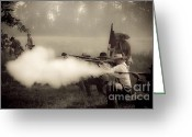 Muskets Greeting Cards - Firing on Command Greeting Card by Kim Henderson