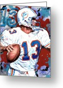 Miami Dolphins Greeting Cards - First and Ten Greeting Card by Maria Arango