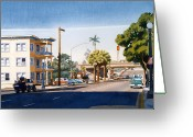 Pickup Painting Greeting Cards - First Avenue in San Diego Greeting Card by Mary Helmreich