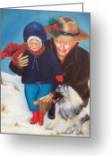 Santa Greeting Cards - First Christmas Greeting Card by Joni McPherson