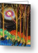 Woods Pastels Greeting Cards - First Cold Night Greeting Card by John  Williams