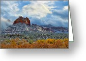 Storm Digital Art Greeting Cards - First Dusting of Snow Greeting Card by Dan Turner
