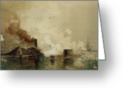 Waters Painting Greeting Cards - First Fight between Ironclads Greeting Card by Julian Oliver Davidson