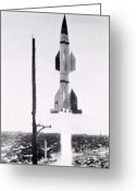 Redstone Greeting Cards - First Hermes A-1 Test Launch Greeting Card by Nasa