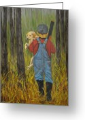 Overalls Greeting Cards - First Hunt Greeting Card by Eunice Parker