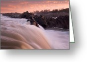 Great Falls Greeting Cards - First Light Great Falls Greeting Card by Mark VanDyke
