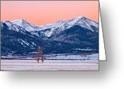 Fault Block Greeting Cards - First Light in Wet Mountain Valley Greeting Card by Paul Gana
