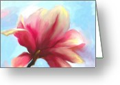 Magnolia Bloom Greeting Cards - First Light Greeting Card by Jai Johnson