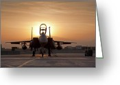 Jet Greeting Cards - First Light on a Fighter Greeting Card by Tim Grams