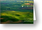 Wheatfields Photo Greeting Cards - First light on the Palouse Greeting Card by Mike  Dawson