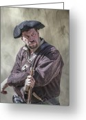 Frontier Art Greeting Cards - First Line of Defense The Frontiersman Greeting Card by Randy Steele
