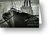 Warship Greeting Cards - First of her Class. Last of the Fleet Greeting Card by Chris Cardwell