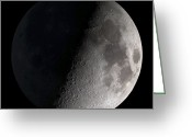 Round Greeting Cards - First Quarter Moon Greeting Card by Stocktrek Images