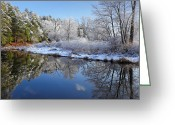 Connecticut Winter Scene Greeting Cards - First Snow Greeting Card by Bill  Wakeley
