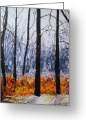 Bare Trees Painting Greeting Cards - First Snow Greeting Card by Elaine Booth-Kallweit