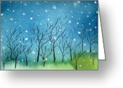 Oi Greeting Cards - First Snow Greeting Card by Oiyee  At Oystudio