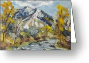 Ski Art Painting Greeting Cards - First Snow Steamboat Springs Colorado Greeting Card by Zanobia Shalks