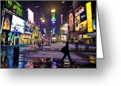 Billboards Greeting Cards - First Snowfall in Times Square Greeting Card by Vicki Jauron