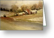 Petoskey Painting Greeting Cards - First Snowfall Greeting Card by Sandra Strohschein