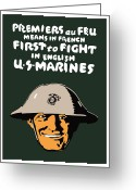 Marine Corps Greeting Cards - First To Fight US Marines Greeting Card by War Is Hell Store