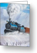 Trains Painting Greeting Cards - First Train Through Greeting Card by Christopher Jenkins