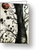 Oil Pastel Greeting Cards - First Tree Greeting Card by Carrie Jackson
