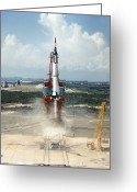 Redstone Greeting Cards - First Us Manned Space Flight, 1961 Greeting Card by Nasavrs