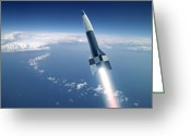 Military Artwork Greeting Cards - First V-2 Rocket Launch, Artwork Greeting Card by Detlev Van Ravenswaay