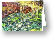 Storm Prints Mixed Media Greeting Cards - First World Greeting Card by Richard Stratford