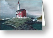 Rocks Prints Mixed Media Greeting Cards - Fisgard Light Greeting Card by James Lyman