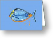 Tropical Fish Greeting Cards - Fish - Tropical Fish - Blue Fish Greeting Card by Alison Fennell