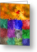 Abstract Greeting Cards - Fish Are Jumping Greeting Card by Tom Romeo