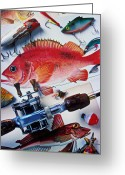 Leisure Activity Greeting Cards - Fish bookplates and tackle Greeting Card by Garry Gay