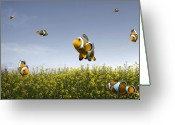 Rape Greeting Cards - Fish Field Greeting Card by Sophie De Roumanie