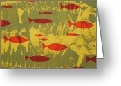 Blue Tapestries - Textiles Greeting Cards - Fish for Thought Greeting Card by Chris Steinken