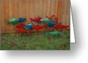 Country Sculpture Greeting Cards - Fish From Cars Greeting Card by Ben Dye