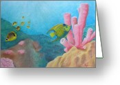 Sea Life Pastels Greeting Cards - Fish Garden Greeting Card by Adam Johnson