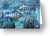 Januszkiewicz Mixed Media Greeting Cards - Fish in Icy Water Greeting Card by Patricia Januszkiewicz