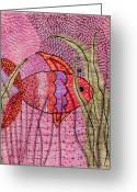Fish Tapestries - Textiles Greeting Cards - Fish In Pink Greeting Card by Jude Ongley-Mowris