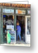 Store Fronts Greeting Cards - Fish Market Greeting Card by Susan Savad
