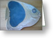 Light Ceramics Greeting Cards - Fish Platter Greeting Card by Julia Van Dine