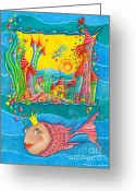 Childsroom Greeting Cards - Fish Queen Greeting Card by Sonja Mengkowski