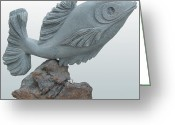 Fish Sculpture Greeting Cards - Fish Sculpture Greeting Card by Hwaida Bouhamdan