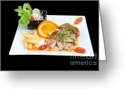 Classy Greeting Cards - Fish Steak Greeting Card by Atiketta Sangasaeng