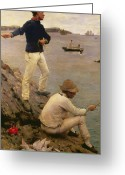 Standing Painting Greeting Cards - Fisher Boys Falmouth Greeting Card by Henry Scott Tuke