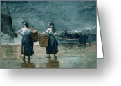 Ports Greeting Cards - Fisher Girls by the Sea Greeting Card by Winslow Homer