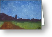 Estephy Sabin Figueroa Painting Greeting Cards - Fisher Towers Greeting Card by Estephy Sabin Figueroa